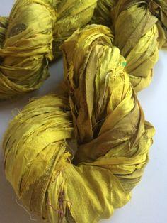 Sari Silk Ribbon, 100g, knitting ribbon, Lime yellow. Recycled Yarn, for jewelry making and arts and crafts. by Yarnyarnyarns on Etsy