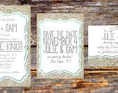 A more affordable burlap & lace wedding invite, via Etsy.