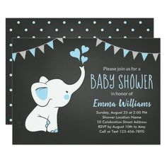 Elephant Baby Shower Invitations for a Boy (affiliate) #babyshowerideas #elephants #babyboy #invitation