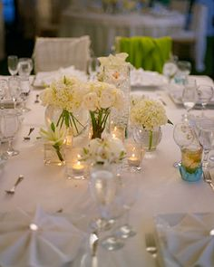 A variety of different white blooms were bundled together to create this clean centerpiece