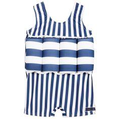 Archimede - Boys Blue Striped Float Swimsuit (UPF50+) | Childrensalon