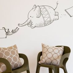 It's a bird! It's a plane! It's... a flying elephant! This Incredible Circus Wall Decal by Blik adds a little touch of whimsy to any room. | $26 on Fab