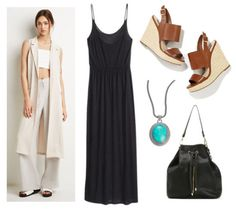 Fashion Inspiration: Anthropologie's June Lookbook - College Fashion, black maxi, brown wedges, turquoise necklace, duster