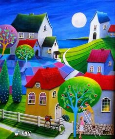"""Honey-Do"" - by Iwona Lifsches -- another one where I made up the name (lol - this one is kinda corny, but I've been making up a bunch of them the past couple days and my tank of creative names is running on empty). Cottage Art, Arte Popular, Colorful Paintings, Naive Art, Whimsical Art, Painting Inspiration, Art Pictures, Home Art, Painting & Drawing"