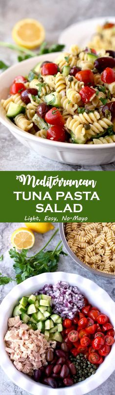 This Tuna Pasta Salad is mayo-free, delicious and quick to make. Tossed in a light lemon, yogurt and herb vinaigrette, with canned tuna, cherry tomatoes, cucumbers, mild diced red onions, Kalamata olives and capers. This Mediterranean Tuna Pasta Salad is the perfect lunch, light dinner or side dish to serve at your next gathering! #Pastasalad #Tuna #Salad #Tunasalad #BBQ #lunch #picnic #nomayo via @lmnblossoms