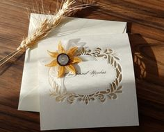 Handmade sunflower wedding invitation/Elegant sunflower invitation/Doily sunflower invitation/Luxury wedding invitation/ by mirelaemilia on Etsy