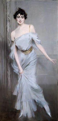 """The Art of Fashion: """"Inspiration Dior"""" at Moscow's Pushkin Museum. """"A gray tulle haute couture gown from fall/winter 2005 is an updated version of the dress worn by Madame Charles Max in Giovanni Boldini's 1896 portrait. Giovanni Boldini, John Singer Sargent, Italian Painters, Italian Artist, Belle Epoque, Caravaggio, Oeuvre D'art, Figurative Art, Female Art"""
