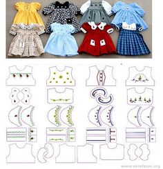 Moldes de Roupas de Bonecas Não vale a pena gastar dinheiro com roupas de boneca. É bem melhor cria-las através de diversos moldes, cada... Diy Barbie Clothes, Sewing Doll Clothes, Fairy Clothes, Sewing Dolls, Diy Clothes Patterns, Doll Sewing Patterns, Doll Dress Patterns, Dress Card, Waldorf Dolls