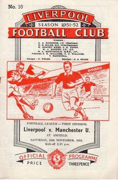 Liverpool 0 Man Utd 0 in Nov 1951 at Anfield. Programme cover #Div1