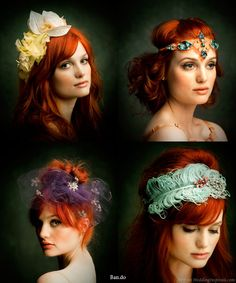 Old hollywood glamour flower and feather headbands suitable for weddings and parties.