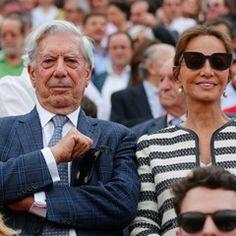 Peruvian writer Mario Vargas Llosa and girlfriend at bullfight in Seville