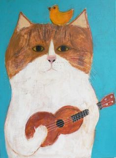 Pepe Shimada - cat and bird making music #Turquoise backdrop