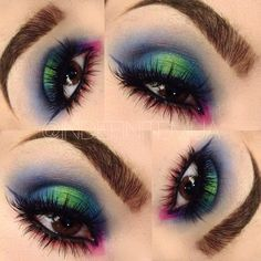 Using the Urban decay electric palette. Green, blue, black, and pink smokey eyeshadow makeup look.