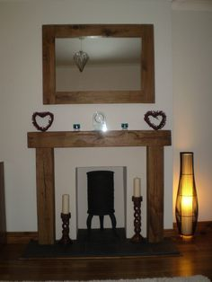 Solid Oak Fire Place - handcrafted at Celtic Oak, Penclawdd, South Wales Fireplace Beam, Ceiling Beams, South Wales, Solid Oak, Shelving, Celtic, Flooring, Wood, Places