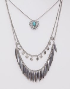 Pull&Bear - woman - jewellery - pack 3 boho chic necklaces - silver - 05993365-V2015