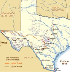 Frontier Forts - U. Military on the Texas Frontier -- can't imagine where Fort Worth got its name. Texas Texans, Texas Cowboys, My Family History, Texas History, Texas Travel, Travel Usa, Map Geo, Laredo Texas, Republic Of Texas
