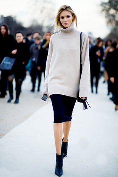 Try pairing a turtleneck with a pencil skirt and pointed-toe ankle boots- woman's fashion- street style- minimal and classic