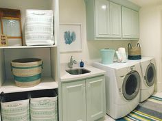 Laundry rooms are a fun place to add some color to your cabinets! #tealtuesday #laundry #wash #dry #buildnew #utahbuilder #customhome #buildnew #design #interiordesign #style #igutah #cabinets #sherwinwilliams #whirlpool #utahstyle #build #newhome #teal #contractor #realestate #Utah #tealtuesdaydecor #happytuesday #dreamhome by murdockbuildersutah