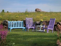 Breezesta Horizon Collection: High Back Rockers, End Table, and Bench | Recycled Poly Lumber Furniture