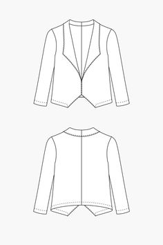 The Morris Blazer sewing pattern by Grainline Studio is a cropped blazer with bracelet length sleeves and a shawl collar.
