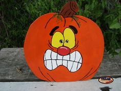 We make a variety of pumpkin arts and crafts. These arts and crafts items come in many different funny faces. Halloween Yard Art, Halloween Painting, Halloween Pumpkins, Fall Halloween, Halloween Crafts, Halloween Decorations, Pumpkin Face Paint, Pumpkin Art, Pumpkin Faces