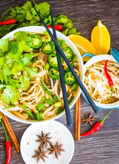 Enjoy Pho the healthy way by using my Spicy Chicken Pho Bowl recipe. Made with brown rice noodles and low sodium broth, you wouldn't need to save this for a cheat day. Easy Vietnamese Recipes, Vietnamese Cuisine, Asian Recipes, Ethnic Recipes, Rice Noodle Soups, Rice Noodles, Pho Bowl, Chicken Pho