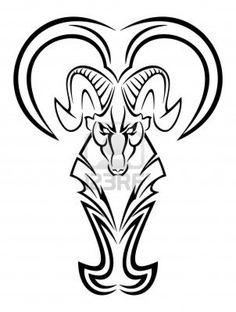 Tribal Zodiac Aries Tattoo Design For Men