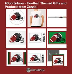 #Sports4you ~ Football Themed Gifts and Products from Zazzle! Here is just a sample of the products available at Zazzle. Gifts and products for Football Fans and Players!