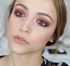 "As described by Kathleen Lights herself, this is her ""subtle glitter look."" These colors accentuate her green eyes perfectly!"