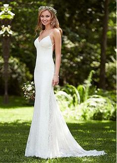 Buy discount Alluring Lace Spagetti Straps Neckline Sheath Wedding Dresses at Dressilyme.com