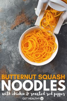 This recipe for butternut squash noodles with chicken and roasted red pepper is absolutely delicious! It's low-carb, low-calorie, and a healthy Italian dinner recipe that your whole family is going to love.
