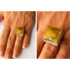 anello di forma quadrata ambra di balticamberstone su Etsy