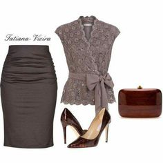 A fashion look from March 2014 featuring Jacques Vert blouses, Paule Ka skirts и Diane Von Furstenberg pumps. Browse and shop related looks. Classy Outfits, Chic Outfits, Fashion Outfits, Womens Fashion, Fashion Trends, Mode Chic, Mode Style, Estilo Fashion, Ideias Fashion
