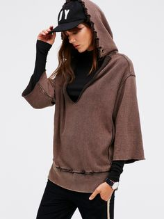 West Track Hoodie | Absolutely effortless hoodie with a super relaxed fit and comfortable fabrication. Unfinished edges and distressing create a lived-in look. V-neckline and wide sleeve openings.