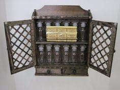 Vintage Himark Complete 12 Bottle Spice Cabinet, Rack, Tiki Style, Apothecary #Himark #SpiceRack #Tiki