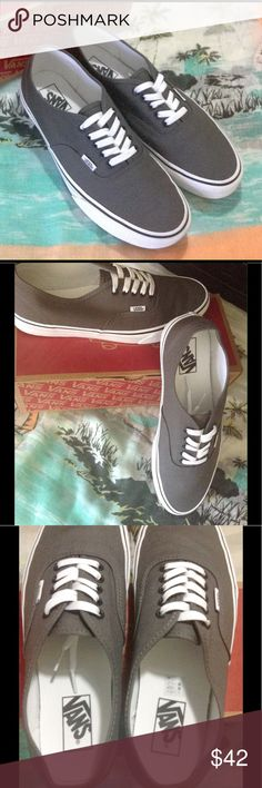 Vans-Off the Wall Authentic Men's Shoes Purchased at Vans in the beautiful French Quarter, New Orleans & only worn ONCE while walking the awesome streets of NOLA.🎭🎺 Pewter & white; men's size 10. Original box, paper, and sticker included. Vans Shoes Sneakers