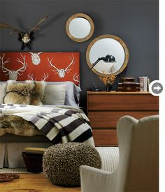 room inspiration. A bit too masculine as is, but love the overall feel