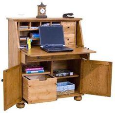 Rustic-Drop-Leaf-Laptop-Writing-Study-Desk-Brown-Home-Office-Furniture-Browm