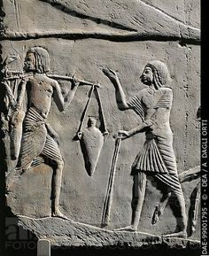 Egyptian civilization, New Kingdom, Dynasty XVIII, 1332-1323 b.C. Relief from the tomb of Horemheb at Saqqara. Detail. Bologna, Museo Civico