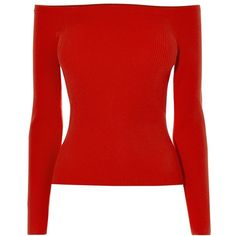 Karen Millen Off The Shoulder Engineered Top, Red (£80) ❤ liked on Polyvore featuring tops, long sleeve stretch top, long sleeve tops, stretch top, rayon tops and off shoulder long sleeve top