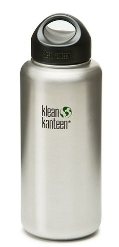 Wide mouth Klean Kanteen 40 oz. water bottle. Food-grade stainless steel, perfect for water collection, purification and even cooking.