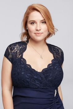 What makes this short plus size dress shine? The perfect combination of details, including a glitter lace bodice with cap sleeves, keyhole back, and beaded embellishment at the waist.   By Jump  Polyester  Back zipper, fully lined  Hand wash  USA  Also available in regular sizes as style 644664 Protect your dress before you wear it with our Garment Bag