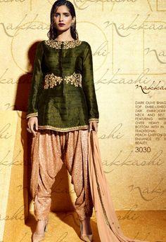 Green Designer Bhagalpuri Suit..@ fashionsbyindia.com #designs #indian #womens…