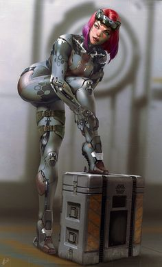 Cyberpunk by frandroid on DeviantArt Cyberpunk Girl, Arte Cyberpunk, Arte Sci Fi, Sci Fi Art, Fantasy Women, Fantasy Girl, Female Character Design, Character Art, Chica Fantasy