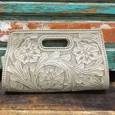 Large Tooled Leather Clutch