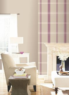 1000 images about home ideas on pinterest vintage for Purple feature wallpaper living room