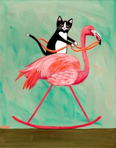 Tuxedo Cat on a Rocking Flamingo - Original Cat Folk Art Painting by KilkennyCat Art - Copyright © Ryan Conners Flamingo Painting, Flamingo Decor, Pink Flamingos, Flamingo Funny, Crazy Cat Lady, Crazy Cats, Pink Bird, Pretty Birds, Bird Art