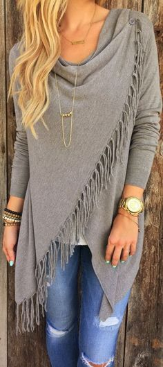 Love the shawl!   It would be even better in color!  Bohemian fall styling: Trendy grey shawl, distressed denim and tons of accessories.