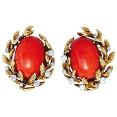 Preowned David Webb Mid-century Mediterranean Coral Diamond Ear Clips ($24,500) ❤ liked on Polyvore featuring jewelry, earrings, red, red clip earrings, red coral earrings, sparkly earrings, red earrings and coral diamond earrings