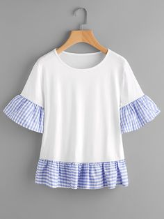 ROMWE - ROMWE Fluted Sleeve Checked Frill Hem Tee - AdoreWe.com Sewing Clothes, Diy Clothes, Clothes For Women, Over 50 Womens Fashion, Boho Fashion, Fashion Design, Baby Girl Birthday Dress, Frocks For Girls, Trendy Tops